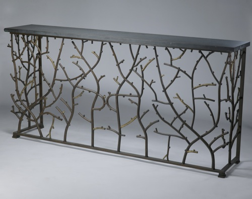 wrought iron 'coral' console in brown bronze, distressed gold leaf highlight finish with marble top