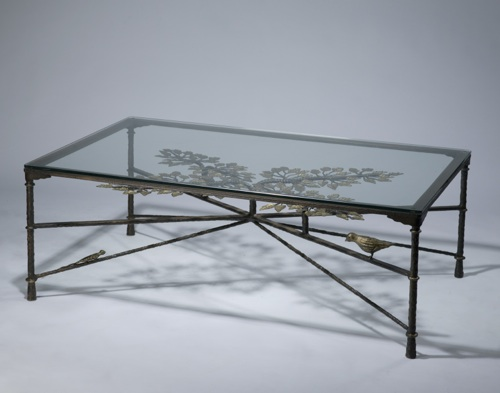 Wrought iron ' tree of life' coffee table in brown bronze, distressed gold leaf highlight finish with glass top