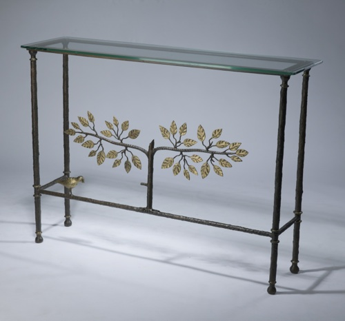 Wrought iron 'tree of life' console table in brown bronze, distressed gold leaf highlight finish with glass top