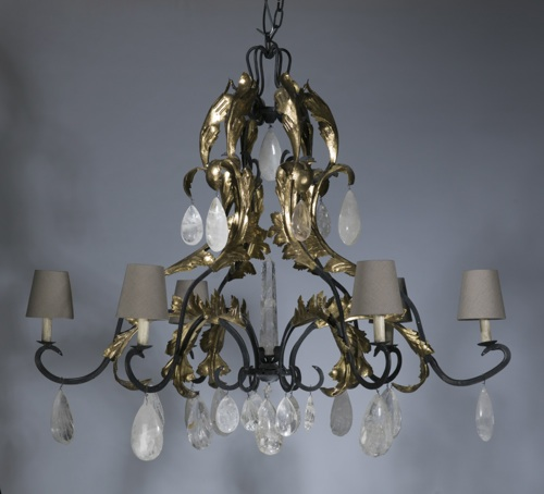large 6 arm wrought iron 'leaf' chandelier in grey, distressed gold leaf finish with natural linen shades