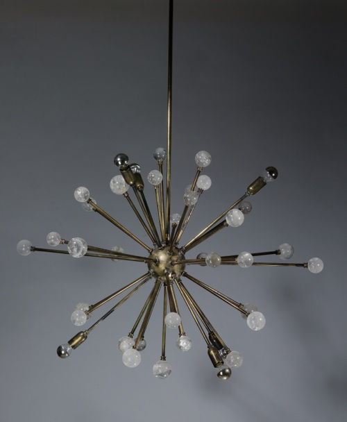'kaboom' chandelier with rock crystal finials