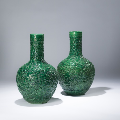pair of large green ceramic flower vases