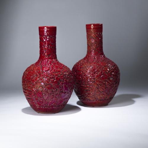 Pair Of Large Red Ceramic Flower Vases T3596 Tysonlondon