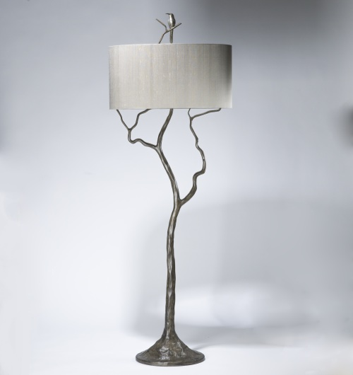 tall tree & humming bird floor lamp in grey painted pewter, distressed silver leaf finish