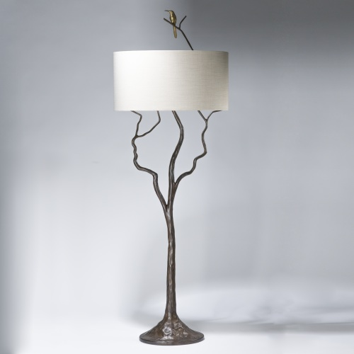 tall tree and humming bird floor lamp in bronze, distressed gold leaf finish