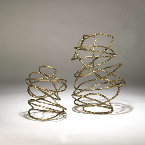 large wrought iron 'swirl' sculpture in distressed gold leaf finish