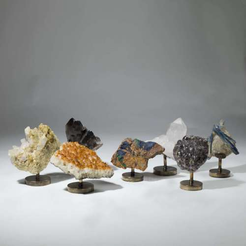 Minerals on brass bases sold separately and priced according to weight and mineral
