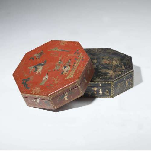 Octagonal oriental boxes with lids (black& red)