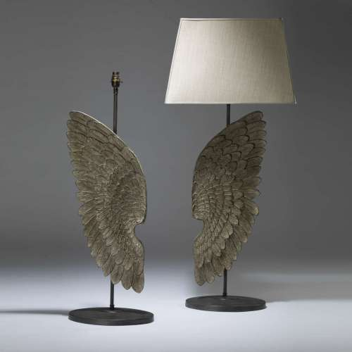 Pair of tall grey hand painted painted wing lamps