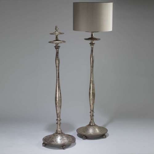 Pair of tall silver gilt wooden standard lamps