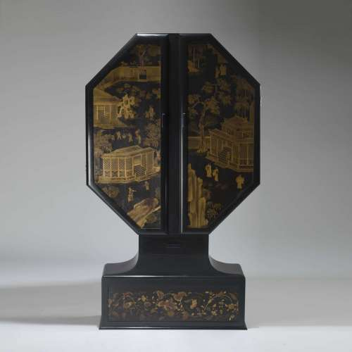 Cocktail cabinet circa 1920 recently black lacquered and added 18th century screen panels
