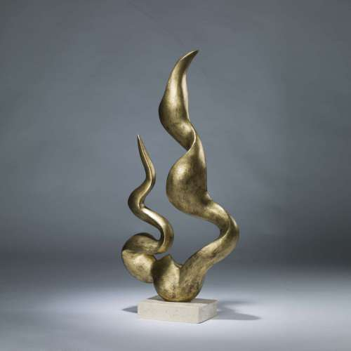 Gilded iron flame sculpture on marble base