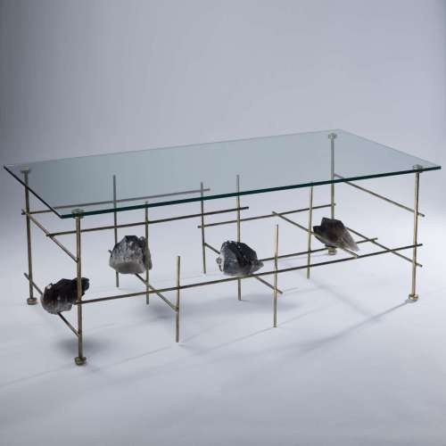 'Lenny' coffee table with brown quartz chunks and glass top