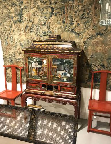 English chinoiserie museum quality cabinet on stand with reverse painted mirror panels circa 1840