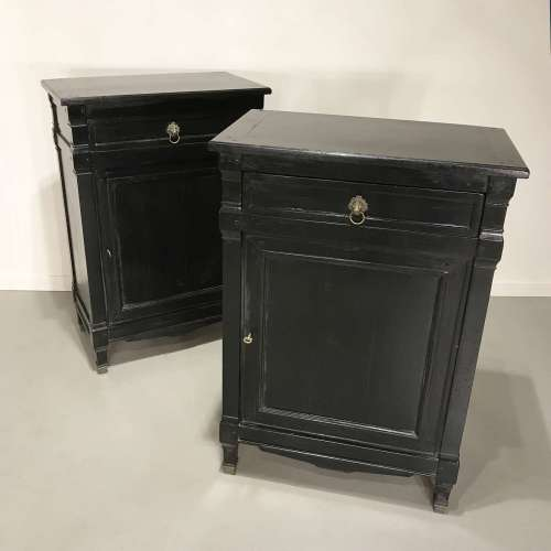 Pair Of Modern Black Painted Oak Cabinets