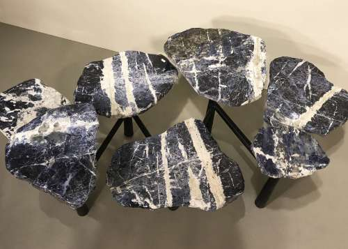 Large sodalite disc coffee table on simple wrought iron base