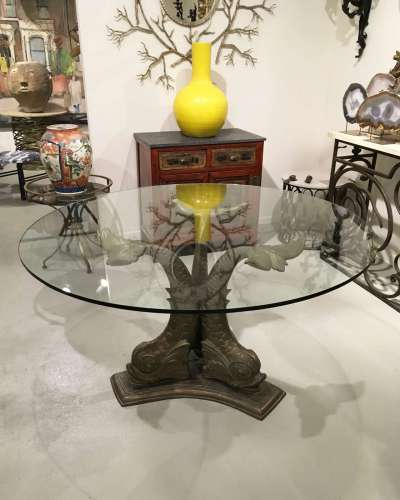 Italian bronze circa 1960/1970 dolphin dining table with old glass top