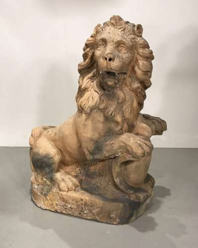 Late 18th/early 19th century French hand-modelled terracotta lion