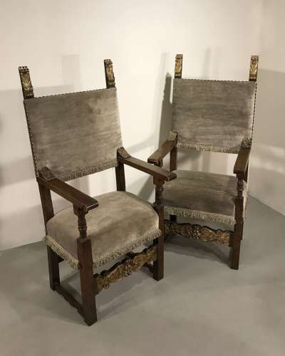 Pair of Italian hall chairs circa 1700 with original gilt details