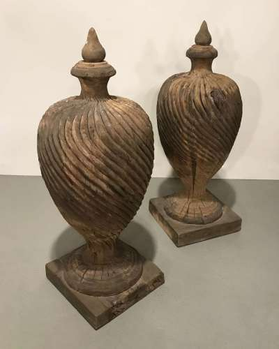 Pair of massive modern carved wooden finials