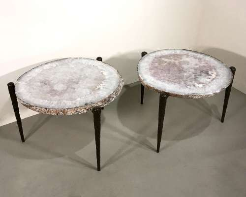 Pair of massive agate slice side tables on wrought iron textured tapered legs with brown bronze finish