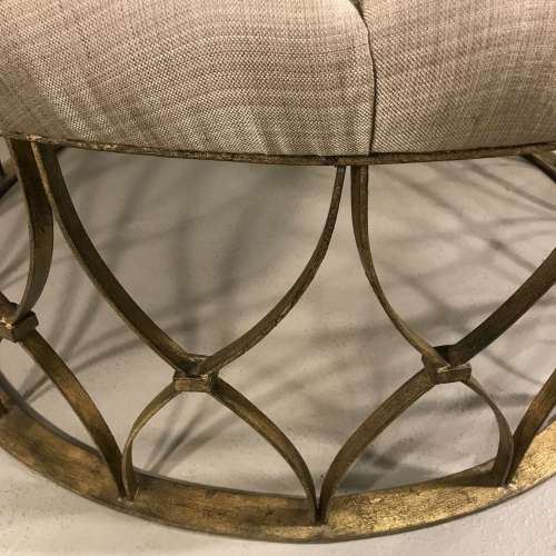 "Large round ""Natalia' ottoman in distressed gilt finish"