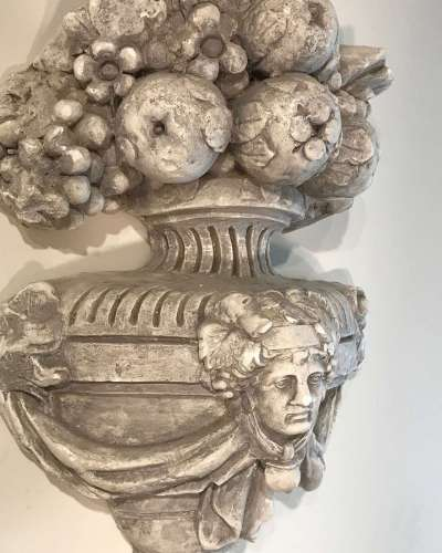 French plaster architectural urn ornament circa 1880