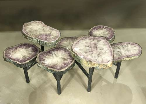 Amethyst  disc coffee table on textured wrought iron base