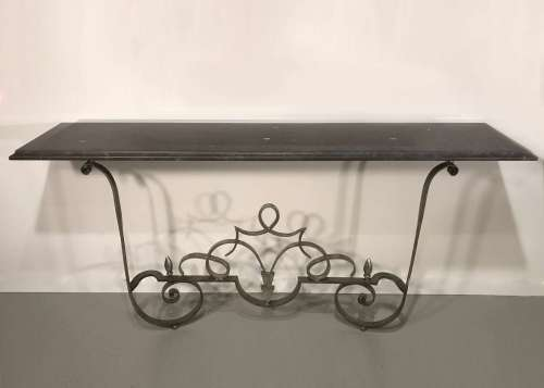Wrought iron 'dad's' console with stone top in Mouses Back & warm silver finish