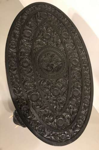 Small 19th century oval Anglo-Indian elephant side table