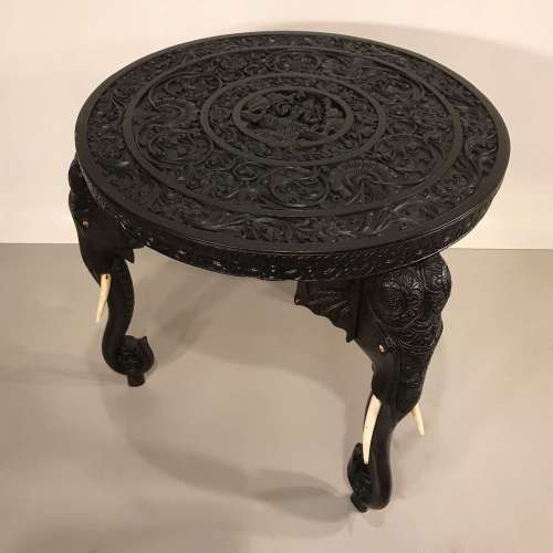19th century Anglo Indian round carved wooden elephant side table