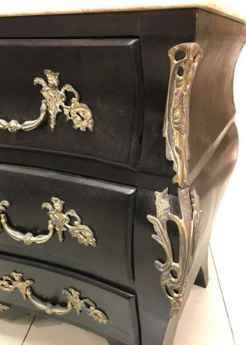Pair of French bombe chest of drawers with bronze mounts & marble tops