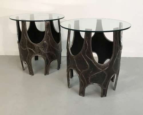 Pair of unique modern wrought iron Brutalist side tables