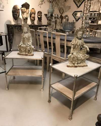 "Pair of ""Mary"" two-tier iron side tables with faux marble ceramic tile tops in 'warm silver leaf' finish"
