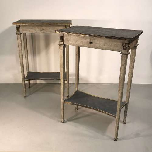 Pair of modern painted French side tables with single drawer and bronze mounts