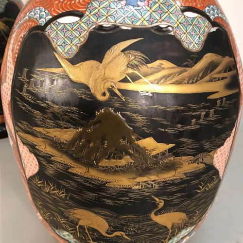 Pair of Japanese ceramic vases circa 1860/80 with lacquered details amazing size & quality