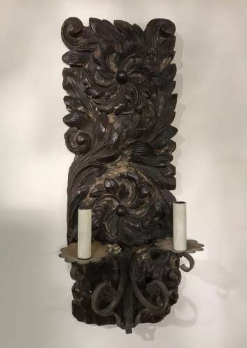 Pair of 18th century English carvings converted to wall lights