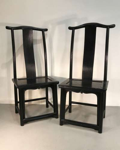 Pair of recently painted black Chinese chairs circa 1920