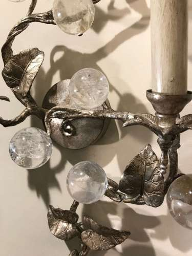 "Pair of rocket crystal & antique silver ""Vine"" wall lights"