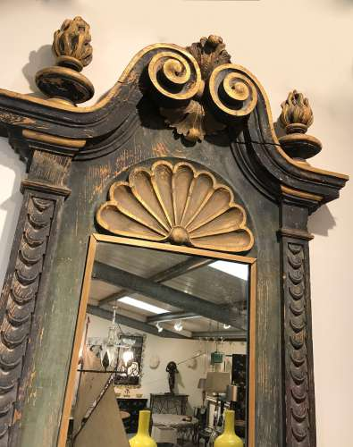 19th century Italian painted pine wall bracket originally a surround for a niche in a palazzo