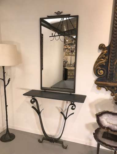Wrought iron mirror in Mouses Back & silver finish