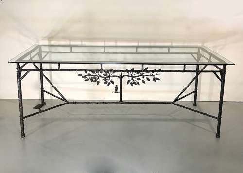 "Wrought iron textured metal ""Tree of Life"" dining table in brown bronze finish and 10mm glass top"