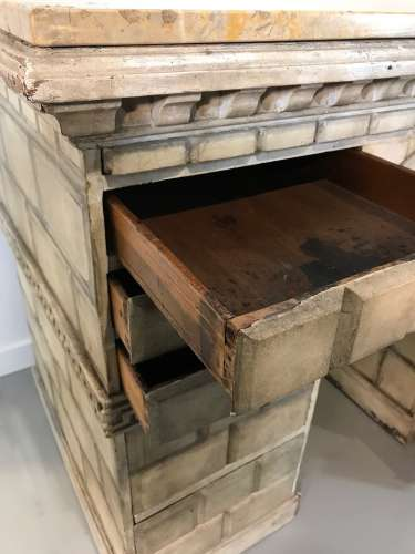 "Very Interesting English Painted Pine ""Castle"" Desk With Sienna Marble Top Circa 1890"