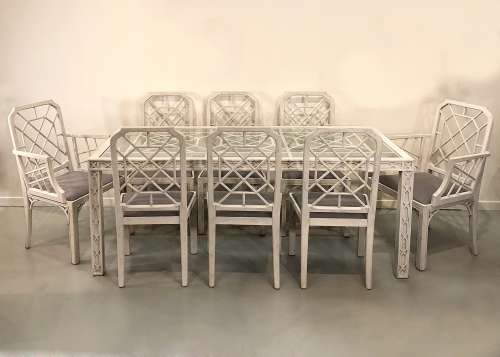 Italian painted dining table and eight chairs circa 1960
