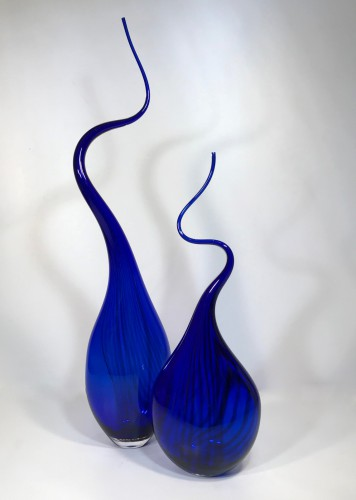 Electric blue 'squiggle vase'