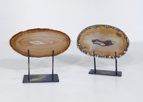 Tiny agate slices on distressed bronze stands