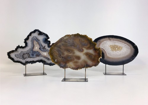 Medium Agate Slices On Distressed Bronze Stands
