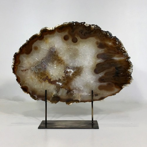 medium large agate slices on distressed bronze stands