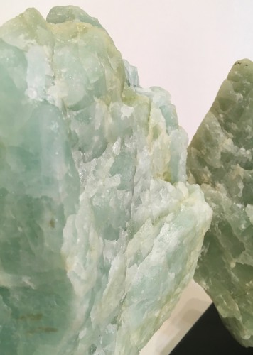Pieces Of Rough Green Quartz On Metal Stands
