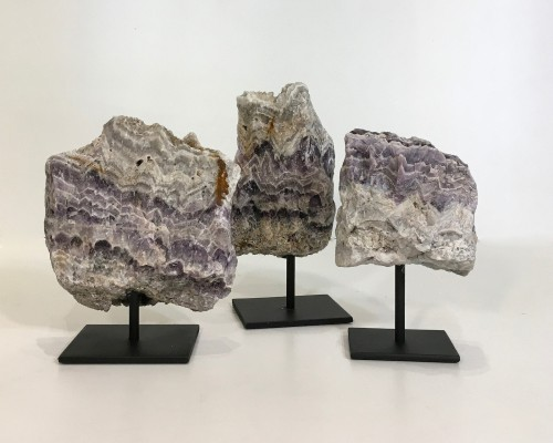 "pieces of ""missoni"" mineral on metal stands"